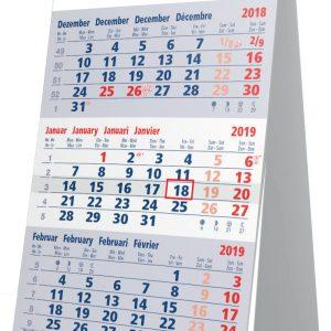 Calendrier de bureau 2019 3 mois bleu