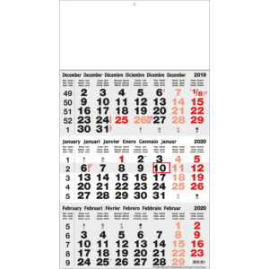 Calendrier 3 mois classic gris 2020