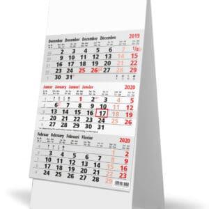 calendrier de bureau 3 mois gris 2020
