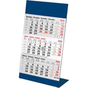 calendrier de bureau métal 3 mois 2020 bleu