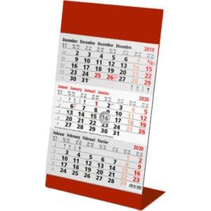 calendrier de bureau métal 3 mois 2020 rouge
