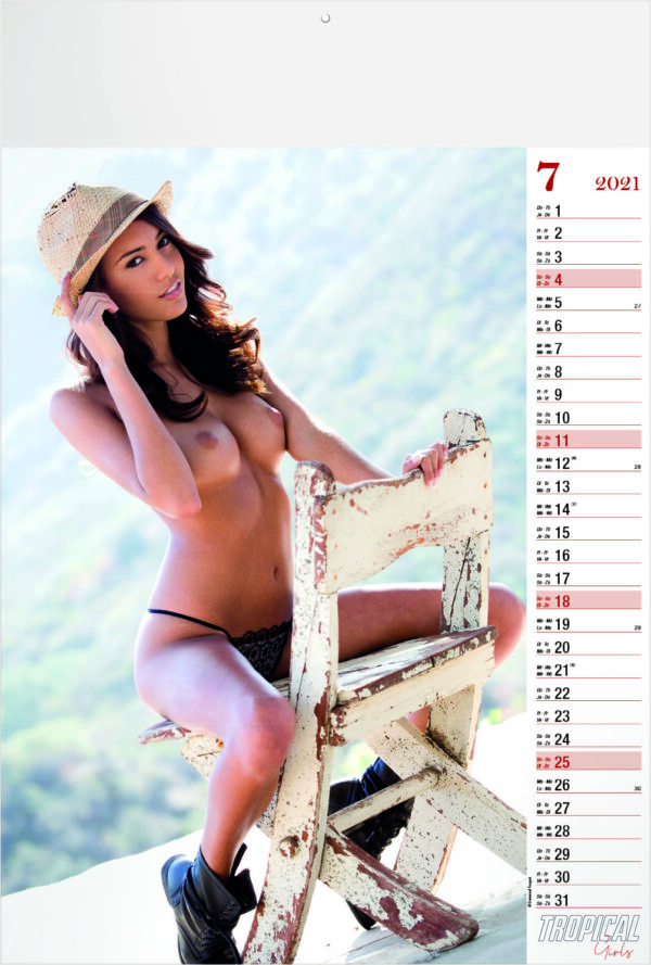 Calendrier pin-up Tropical Girls 2021 Juillet