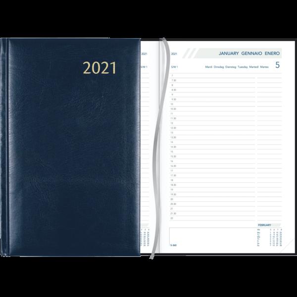 Agenda Daily relié 2021 bleu