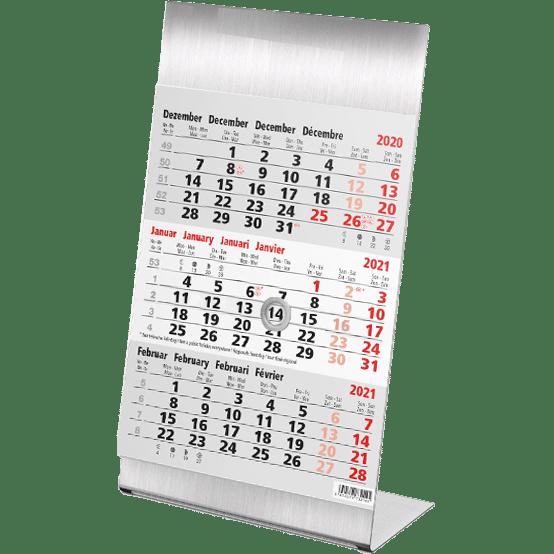 Calendrier de bureau 3 mois Steel 2021